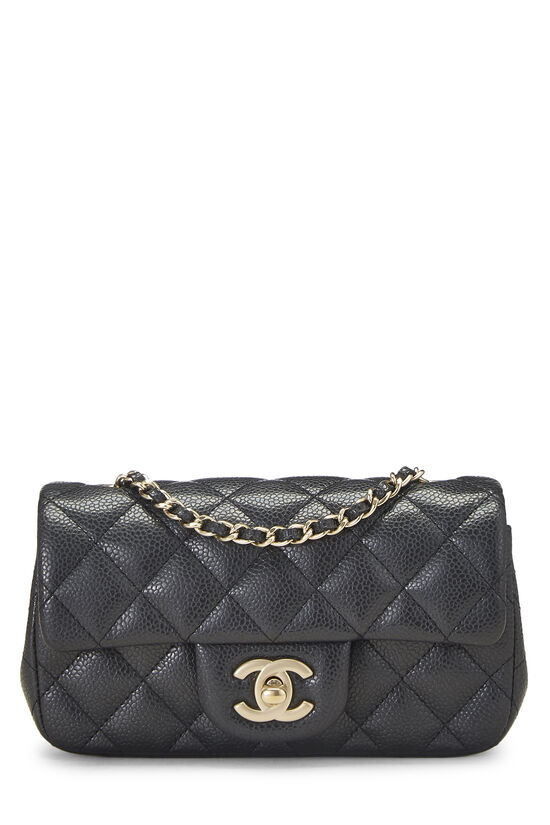 Grey Quilted Caviar Half Flap Extra Mini, , large image number 0