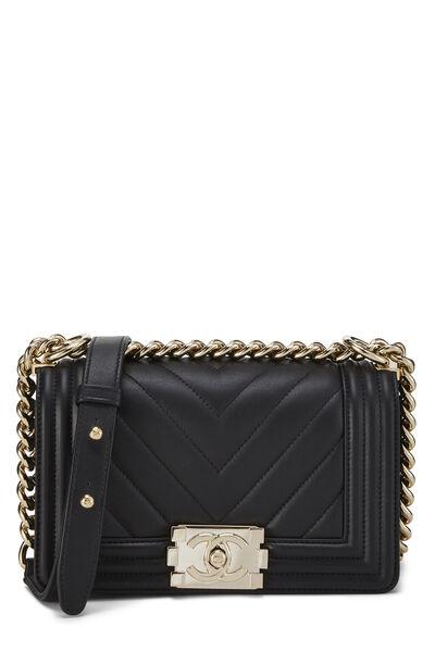 Black Chevron Lambskin Boy Bag Mini