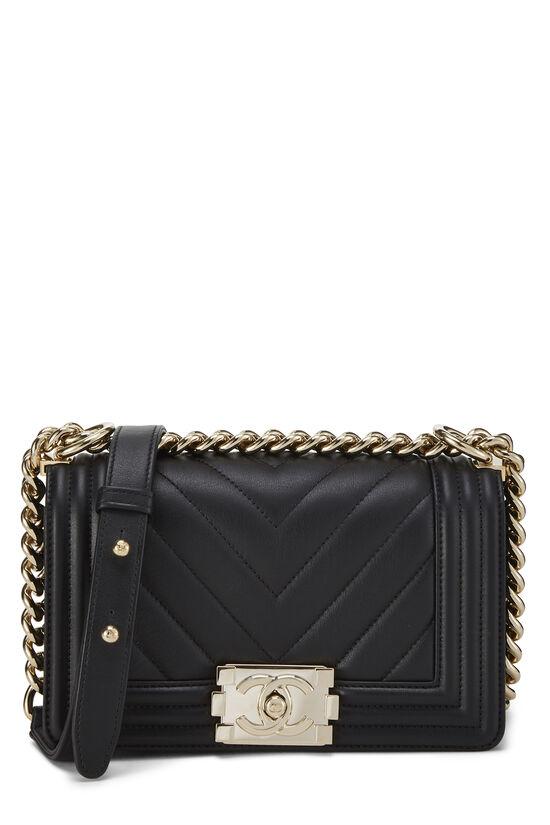 Black Chevron Lambskin Boy Bag Mini, , large image number 0