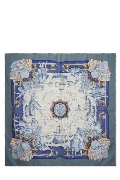 Blue & Multicolor 'Azulejos' Silk Scarf 90