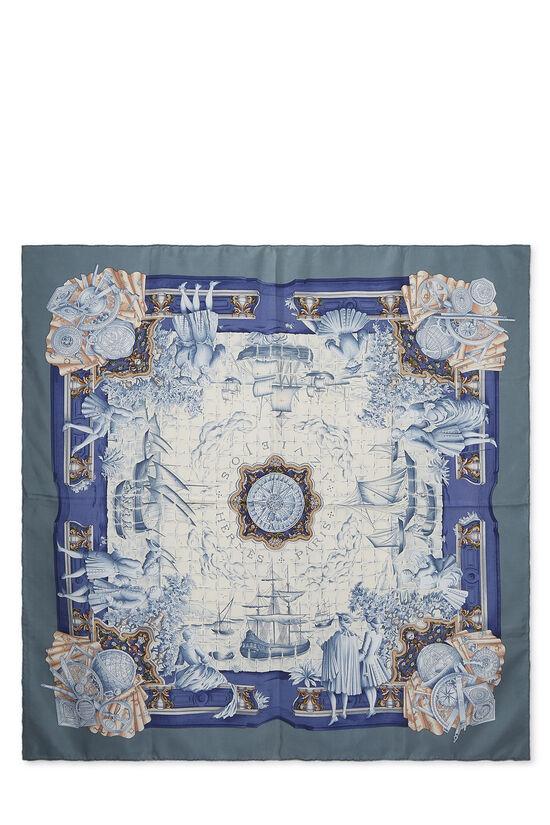 Blue & Multicolor 'Azulejos' Silk Scarf 90, , large image number 0