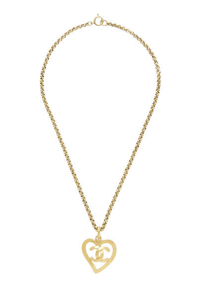 Gold 'CC' Open Heart Necklace