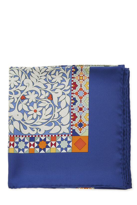 Blue & Multicolor 'Les Jardins d'Armenie' Silk Scarf 90, , large image number 1