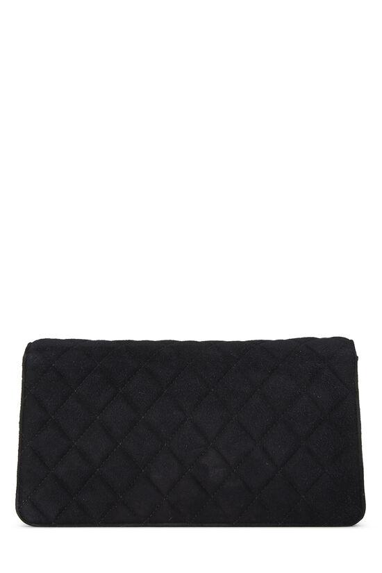 Black Quilted Suede Embellished 'CC' Clutch, , large image number 3