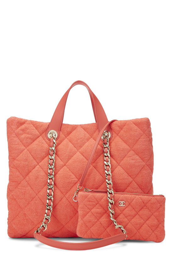 Orange Terry Cloth Coco Beach Shopping Bag, , large image number 4