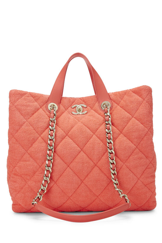 Orange Terry Cloth Coco Beach Shopping Bag, , large image number 0