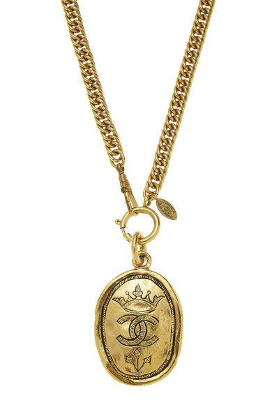 Gold Oval Crown Necklace Large, , large