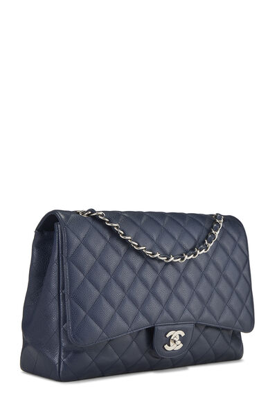 Navy Quilted Caviar Single Flap Maxi, , large