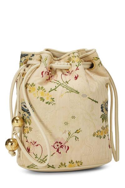 Beige Floral Brocade Bucket Bag, , large