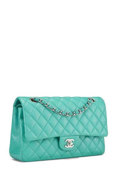 Green Quilted Lambskin Classic Double Flap Medium, , large