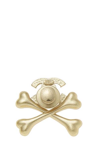 Gold & White Enamel 'CC' Crossbone Pin, , large