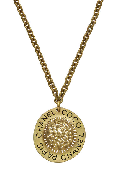 Gold Textured CC Necklace XL, , large