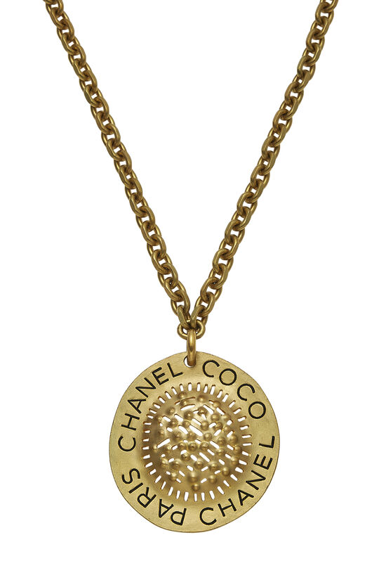 Gold Textured CC Necklace XL, , large image number 1