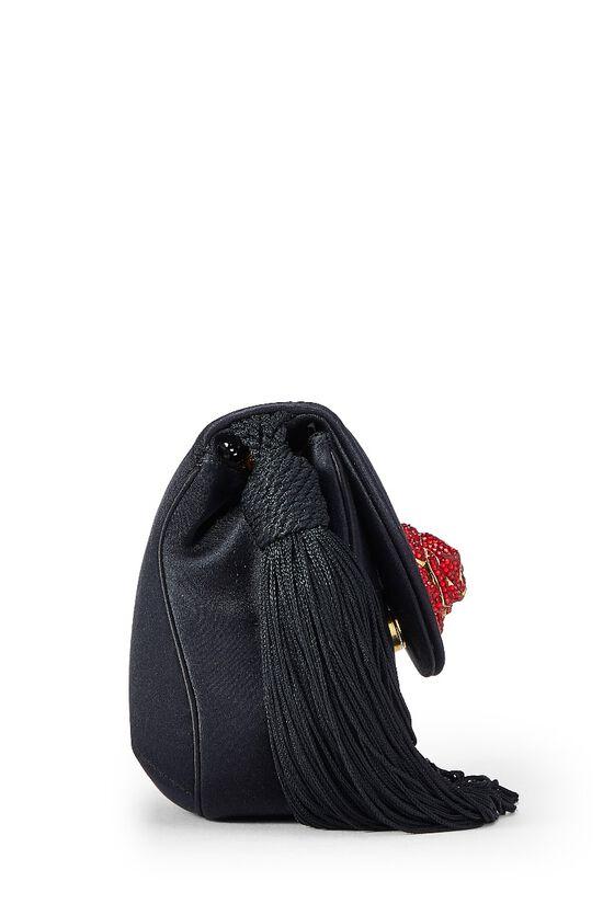 Black Satin Floral Embellished Shoulder Bag, , large image number 2