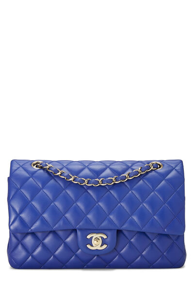 Blue Quilted Lambskin Classic Double Flap Medium