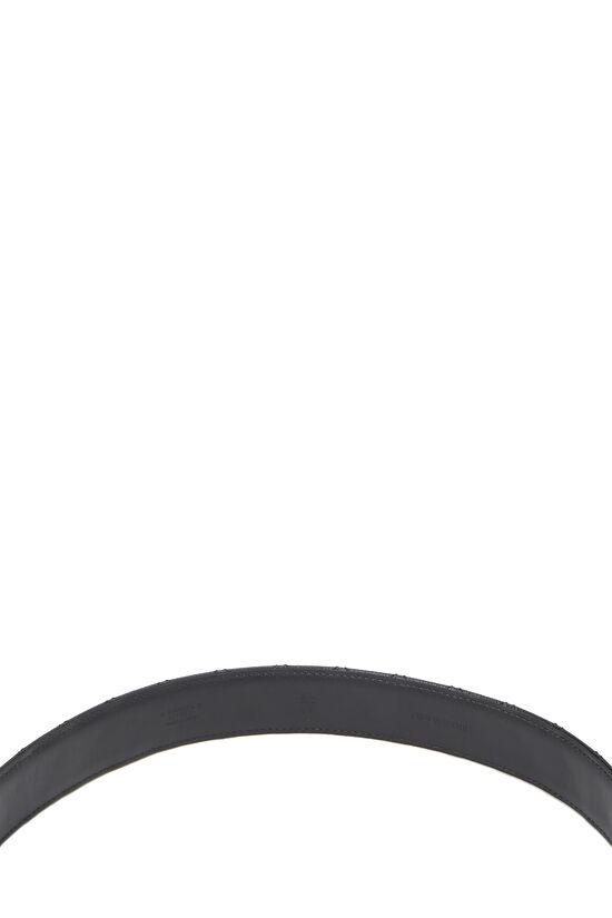 Black Quilted Caviar 'CC' Belt, , large image number 3