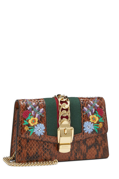 Brown Python Floral Embroidered Sylvie Mini, , large