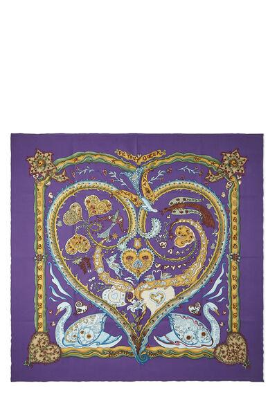 Purple & Multicolor 'De Tout Coeur' Silk Scarf 90