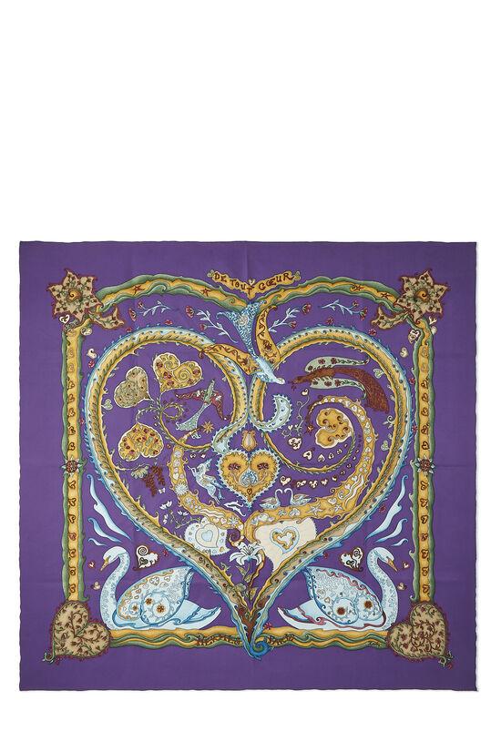 Purple & Multicolor 'De Tout Coeur' Silk Scarf 90, , large image number 0