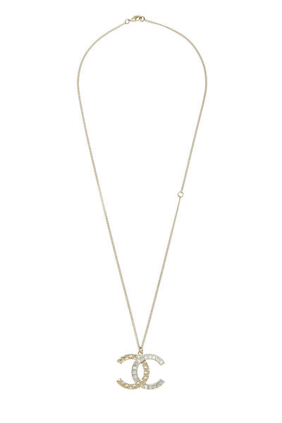 Gold & Crystal Quilted 'CC' Necklace