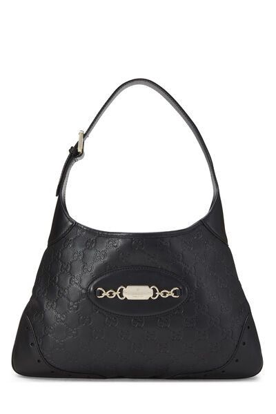 Black Gucci Signature Leather Punch Hobo