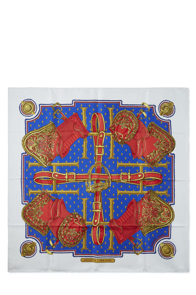 White & Multicolor 'Selles a Housse' Silk Scarf 90
