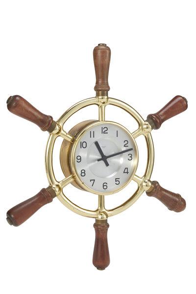 Brass Ship Helm Wall Clock, , large