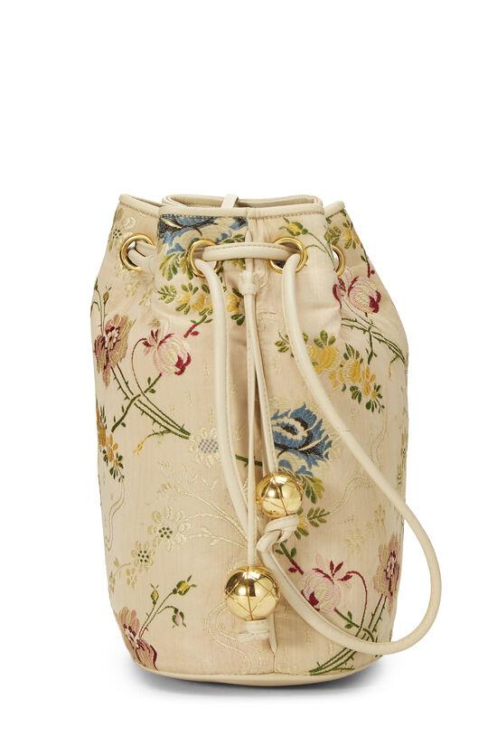 Beige Floral Brocade Bucket Bag, , large image number 2