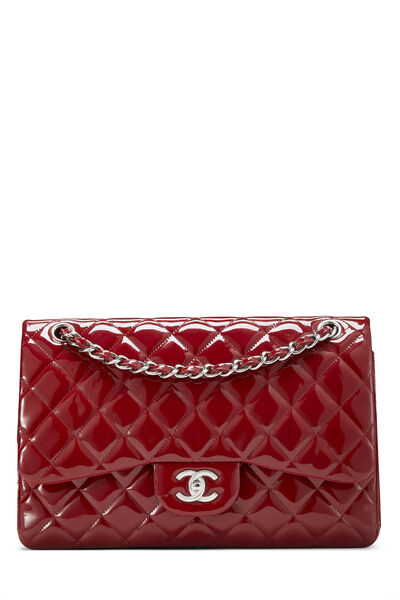 Red Quilted Patent Leather New Classic Double Flap Jumbo