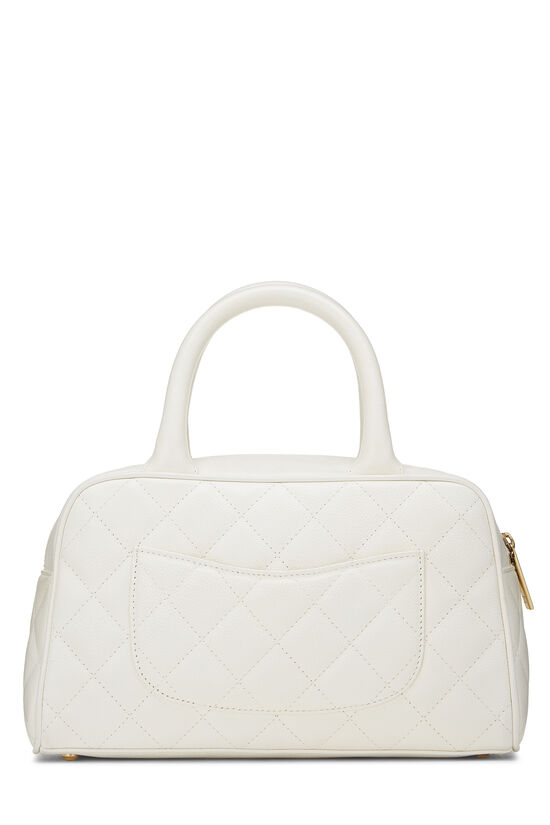 White Quilted Caviar Bowler Mini, , large image number 3