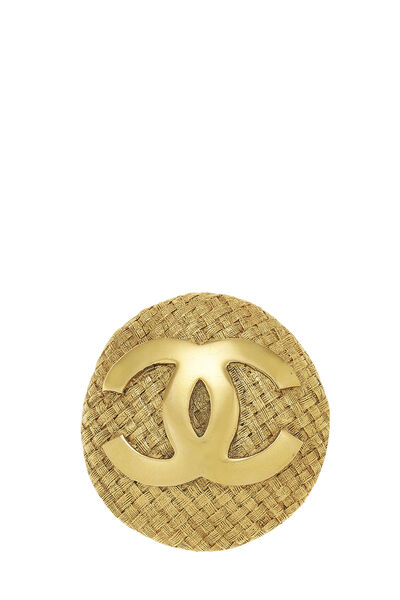 Gold Woven 'CC' Pin Large