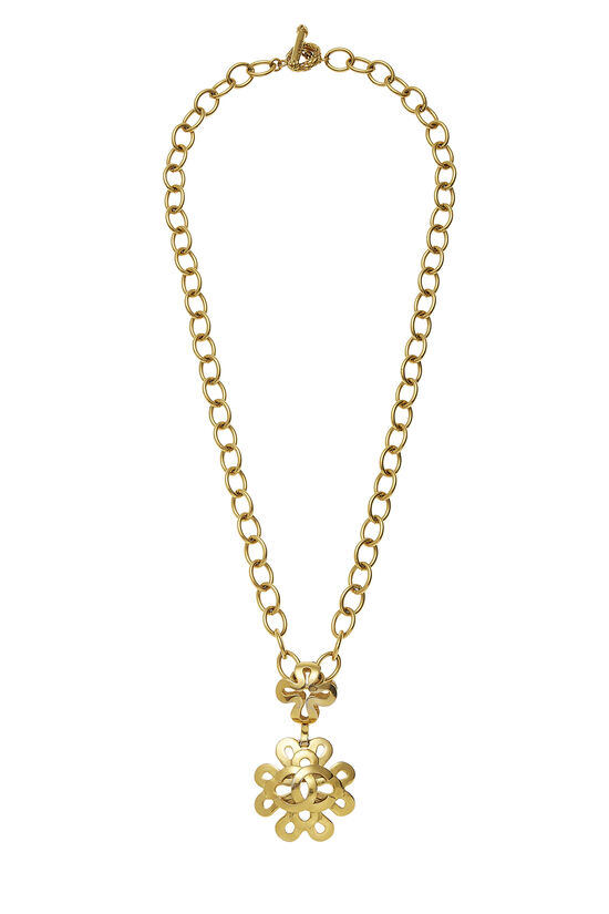 Gold Squiggle Border 'CC' Necklace, , large image number 0