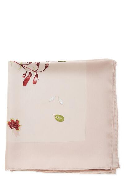 Pink & Multicolor 'Des Fleurs Pour le Dire' Silk Scarf 90, , large