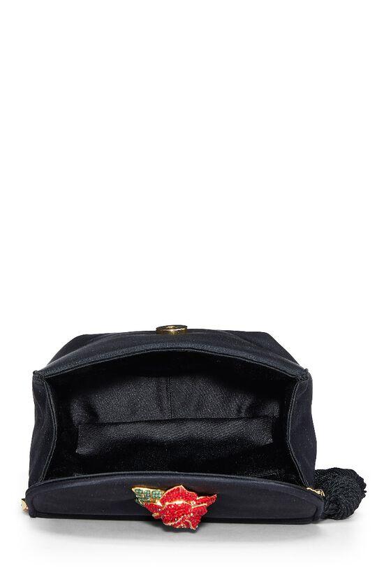 Black Satin Floral Embellished Shoulder Bag, , large image number 5