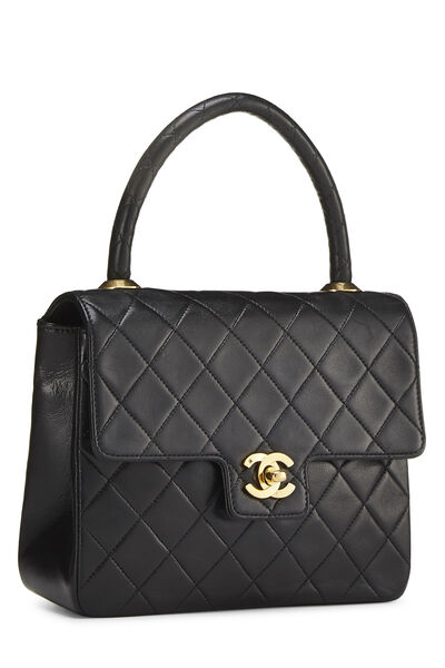 Black Quilted Lambskin Top Handle Tote Mini, , large