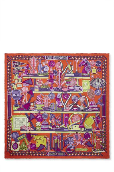 Orange & Multicolor 'Les Trophées' Silk Scarf 90
