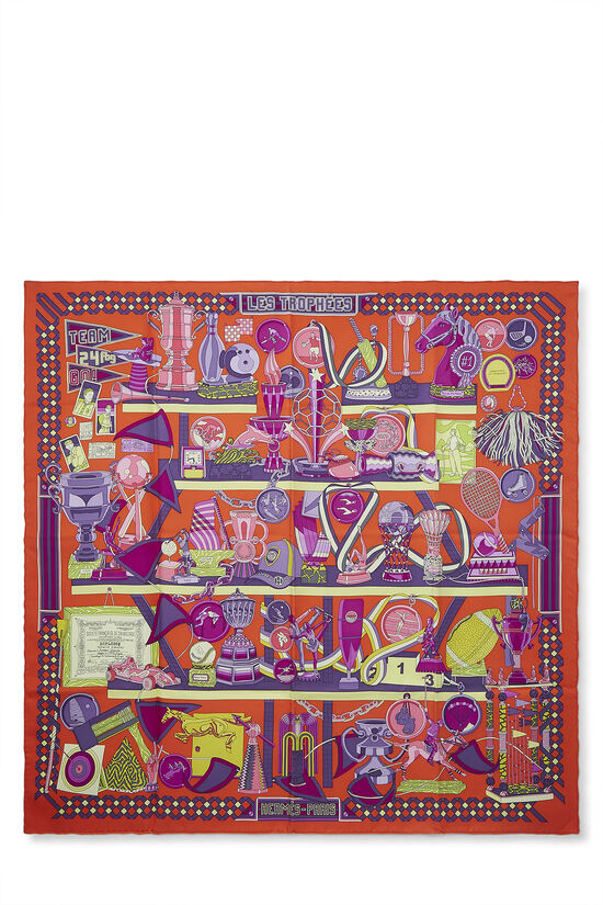 Orange & Multicolor 'Les Trophées' Silk Scarf 90, , large image number 0