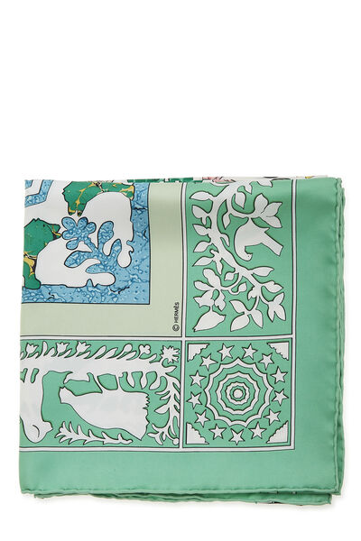 Green & Multicolor 'Early America' Silk Scarf 90, , large