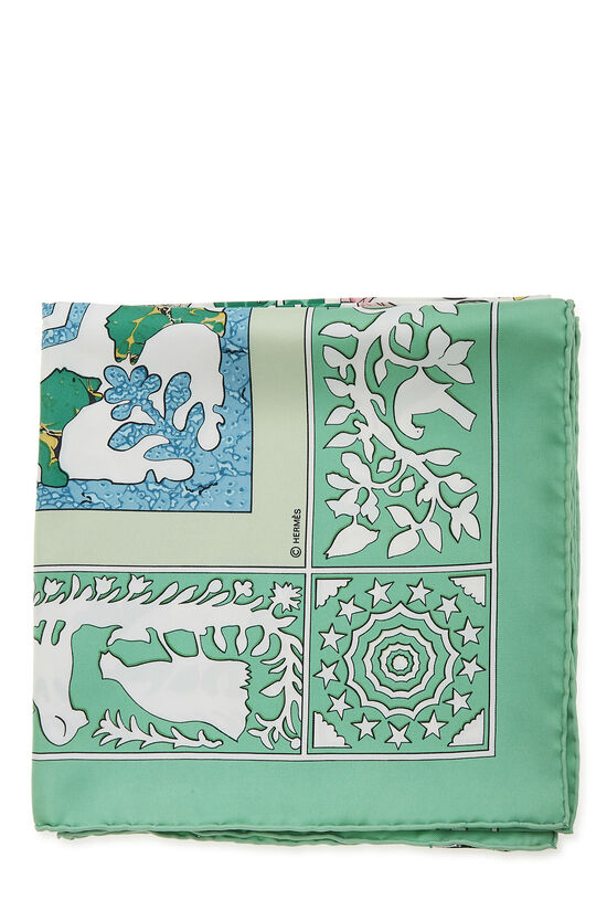 Green & Multicolor 'Early America' Silk Scarf 90, , large image number 1