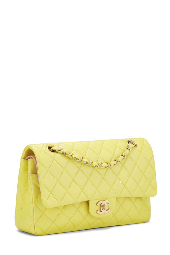 Yellow Quilted Lambskin Classic Double Flap Medium, , large image number 1