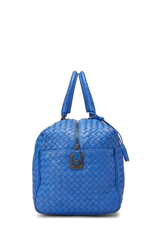 Blue Intrecciato Leather Boston, , large image number 3