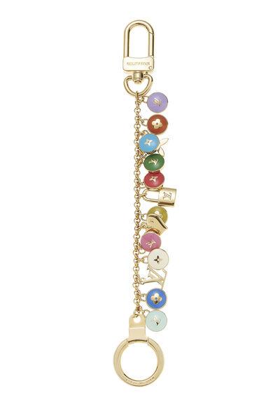 Gold & Multicolor Enamel Logo Pastilles Keychain