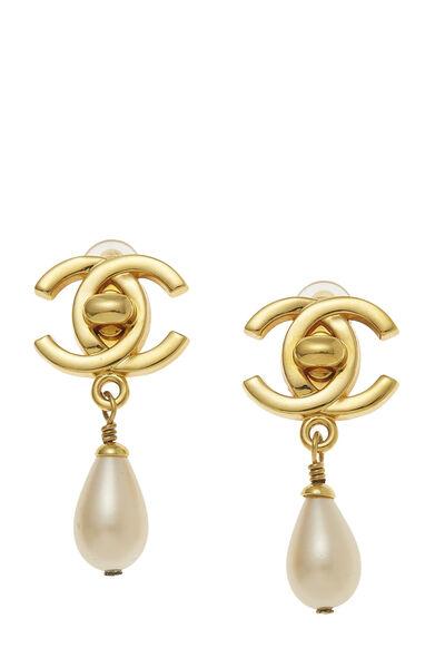 Gold & Faux Pearl 'CC' Turnlock Dangle Earrings