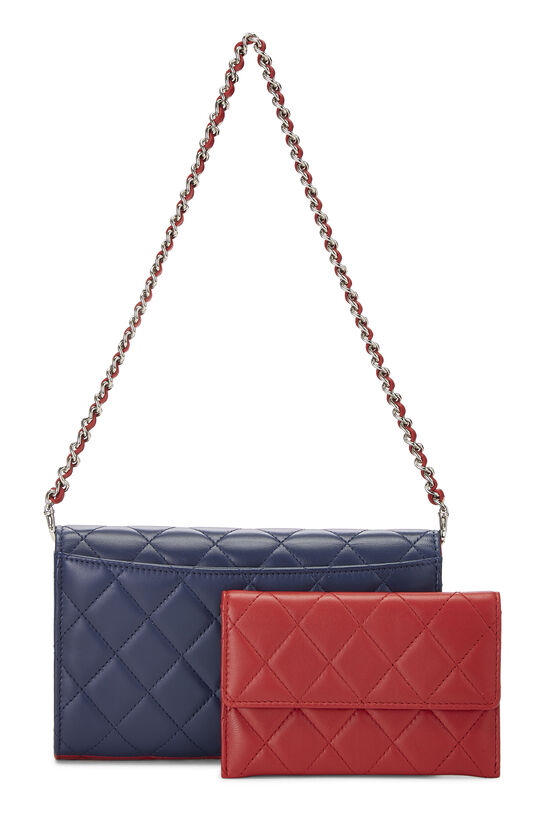 Red & Blue Quilted Lambskin Convertible Clutch, , large image number 3