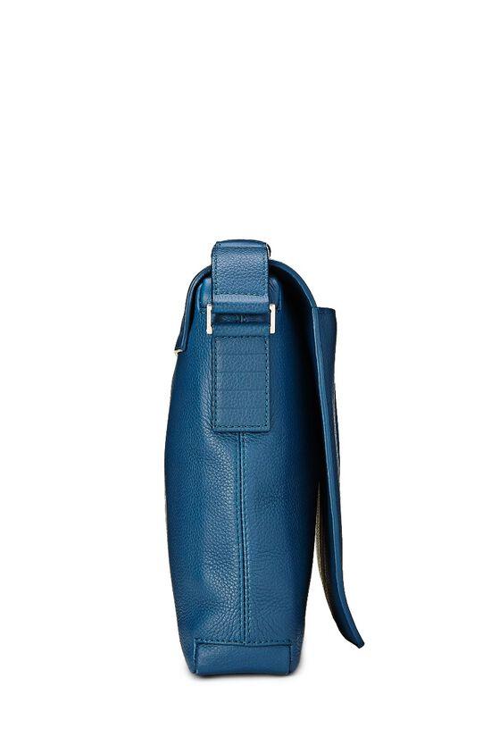 Homme Blue Leather Messenger Bag, , large image number 2
