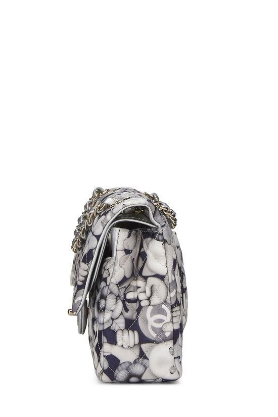 White & Grey Emoticon Nylon Classic Double Flap Medium, , large image number 2