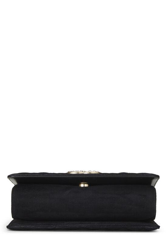 Black Quilted Suede Embellished 'CC' Clutch, , large image number 4