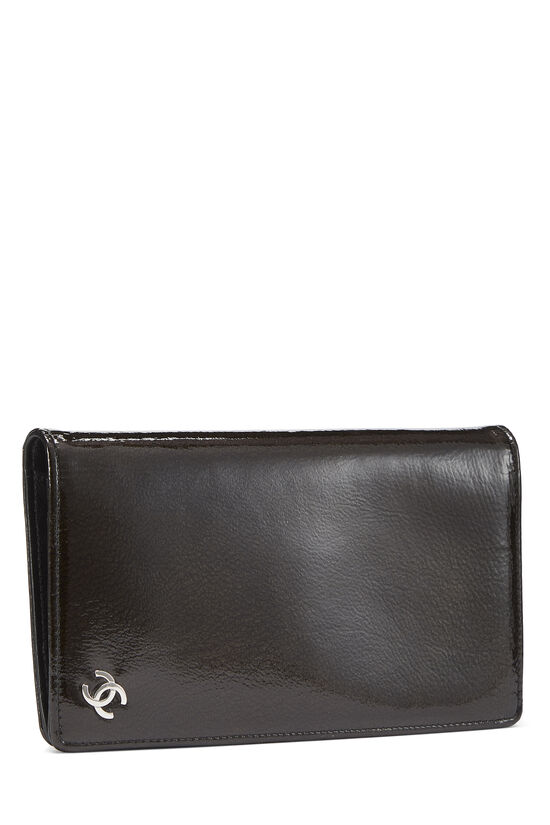 Brown Patent Leather Yen Wallet, , large image number 1