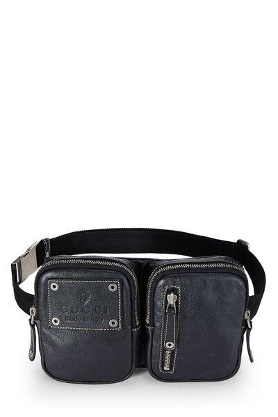 Black Leather Zip Pouch Belt Bag, , large