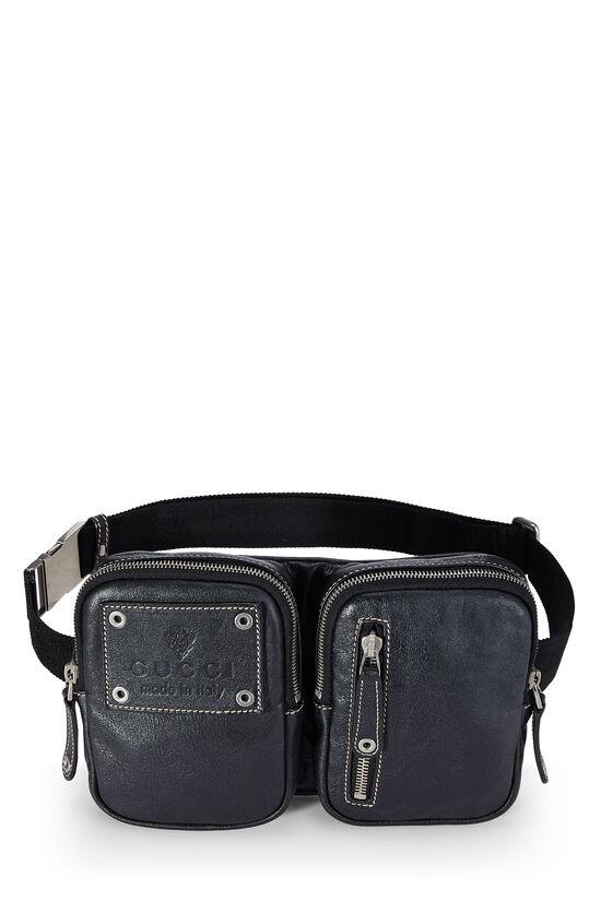Black Leather Zip Pouch Belt Bag, , large image number 1